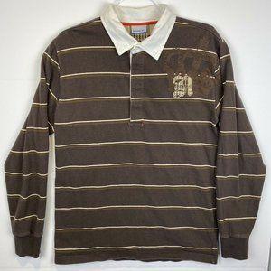 Vintage Reebok Mens XL Brown Stripe L/S LARGE Polo